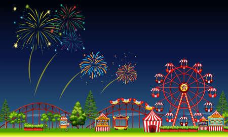 theme: Amusement park scene at night with fireworks illustration