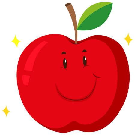 manzana roja: Manzana roja con la cara feliz ilustración