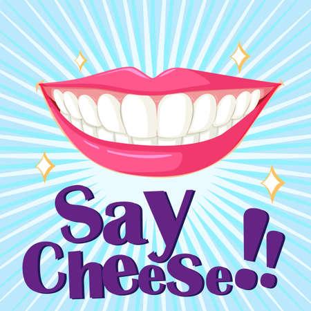 beautiful smile: Beautiful smile with clean teeth illustration