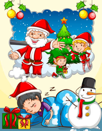 dreaming: Boy dreaming about Christmas festival illustration Illustration