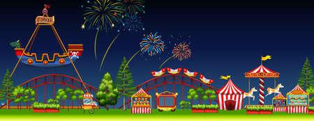 Amusement park scene at night illustration