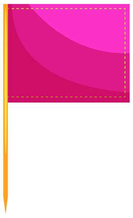 close up food: Square flag in pink color illustration