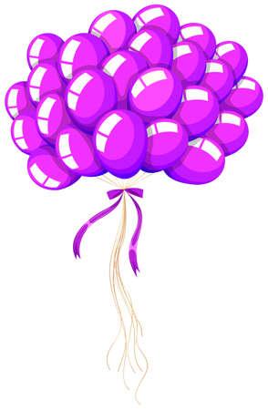 balloon cartoon: Bunch of purple balloons floating illustration Illustration