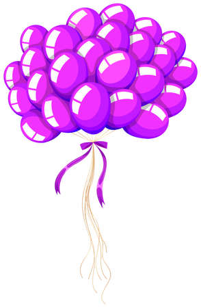 bunch: Bunch of purple balloons floating illustration Illustration