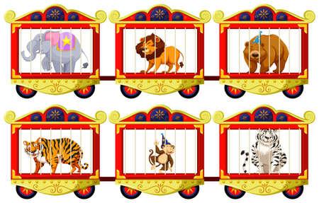 lion dessin: Les animaux sauvages dans les cages du cirque illustration Illustration