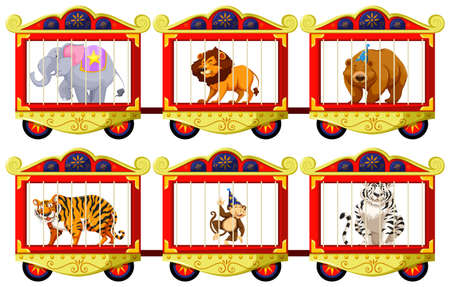 cage animals: Wild animals in the circus cages illustration