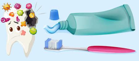el tema dental con la caries dental y equipo ilustración