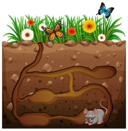 庭の図の下でネズミの穴