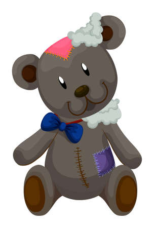 patches: Old teddy bear with patches illustration