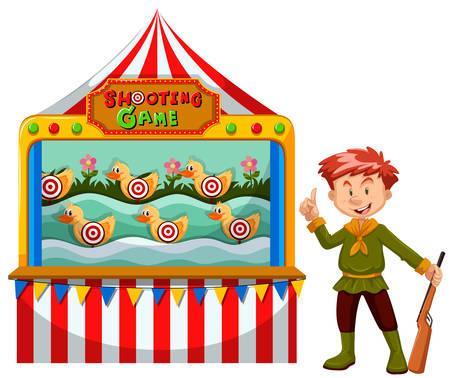game gun: Man working at the shooting game illustration