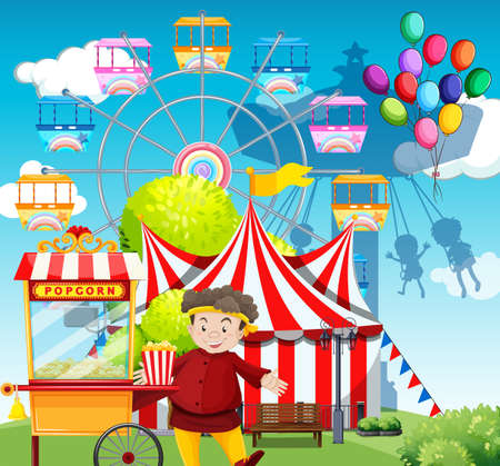 amusement park rides: Man selling popcorn at the funpark illustration Illustration