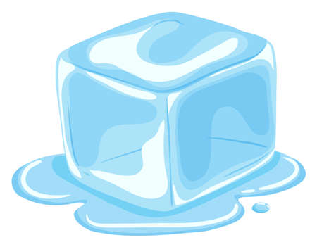 Piece of ice cube melting  illustration Çizim
