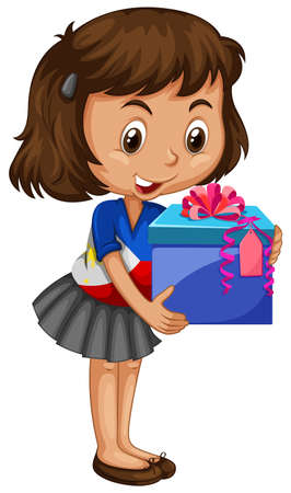 carrying box: Little girl carrying box of present illustration