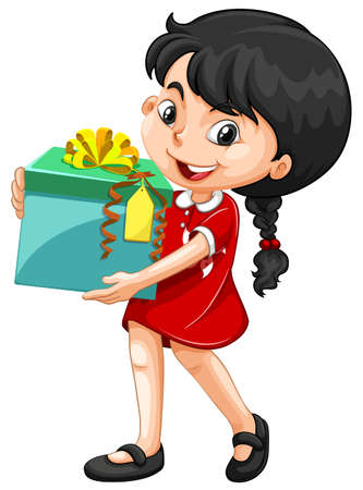decorating: Little girl holding a box of present illustration