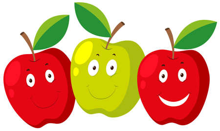 the fresh apple: Fresh apple with happy faces illustration