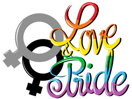 lesbian love: Sign saying love and pride illustration