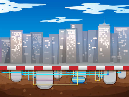 metropolis image: Water pipe underground of the city illustration Illustration