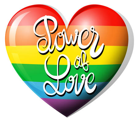 lesbian: Power of love and rainbow heart illustration Illustration