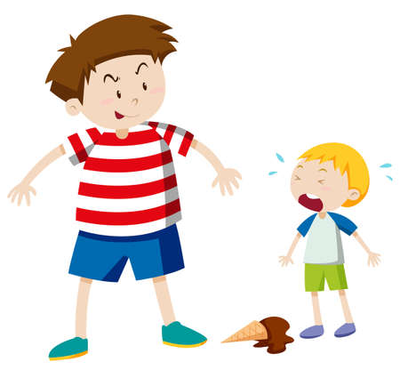 cartoon gangster: Big boy bullying smaller boy illustration