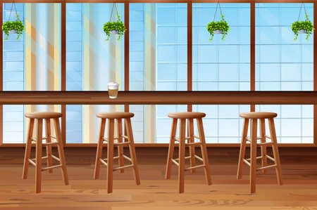 bar area: Inside of coffee shop with glass window illustration