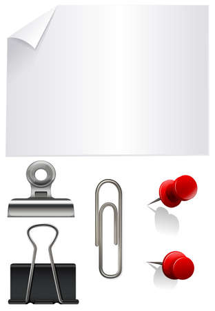 background stationary: Stationary set with paper and clips illustration
