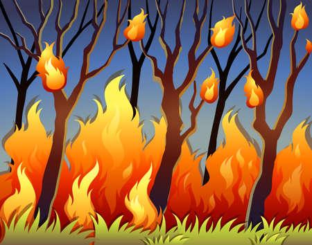buisson: Les arbres dans la forêt en feu illustration