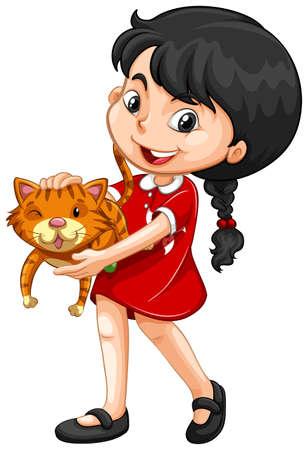 Little girl hugging kitten illustration
