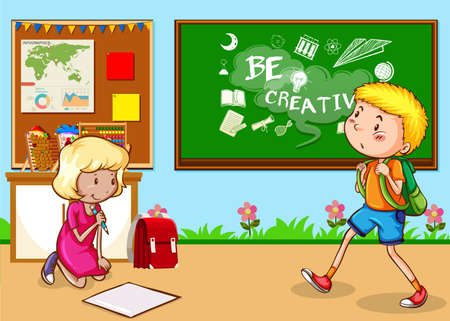 children drawing: Children studying in the classroom illustration Illustration