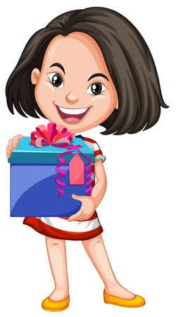 carrying box: Girl carrying box of gift illustration Illustration