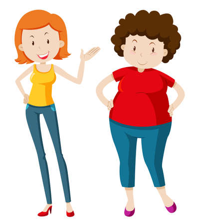 people standing: Slim woman and chubby woman illustration Illustration