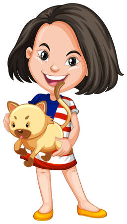 ethnicity happy: Little girl and her pet cat illustration