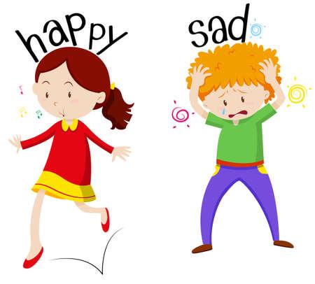 of boy and girl: Happy girl and sad boy illustration
