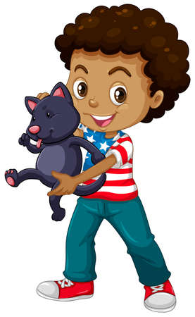 white cats: African American boy and his pet cat illustration