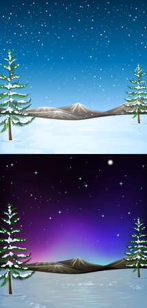 snow field: Nature scene with snow falling illustration