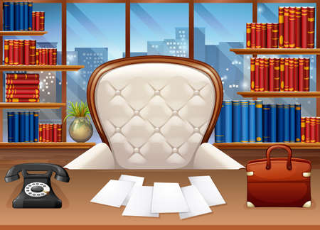 drawing room: Business office fully furnished  illustration