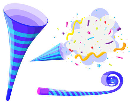 horns: Party horn and pop up cone illustration