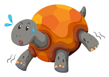 slow: Cute turtle running with swet illustration