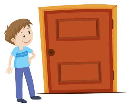 cerrar la puerta: Hombre que mira la ilustración de puerta Vectores