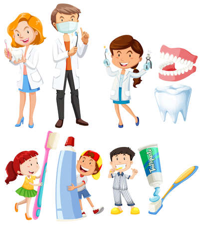 dientes sanos: Dentista y los niños cepillarse los dientes ilustración Vectores