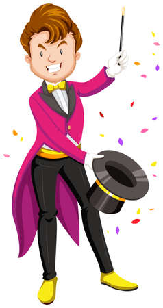 art show: Magician with hat and wand illustration