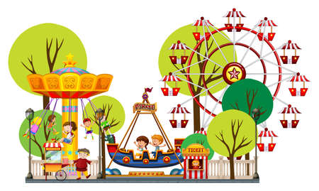 amusement park rides: Children playing in the theme park illustration Illustration