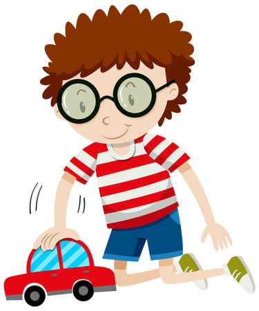 toy car: Little boy playing with toy car illustration