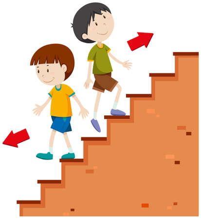 Boys walking up and down illustration