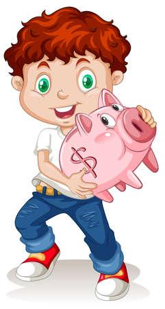 ethnicity happy: Little boy holding piggy bank illustration