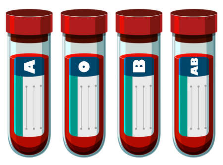 blood type: Different blood types in test tube illustration Illustration