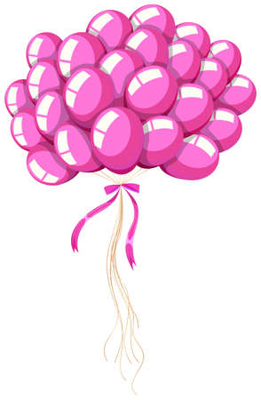pink balloons: Bunch of pink balloons with ribbon illustration