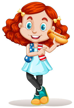 child and dog: Little girl eating hotdog illustration
