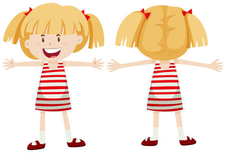back view: Little girl with front and back view illustration