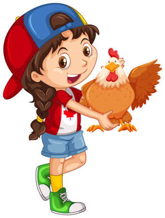 Little girl holding a chicken illustration