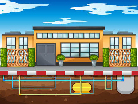 modern house: Water pipe running under the house illustration Illustration